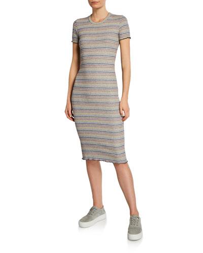 Striped Short-Sleeve Tee Dress