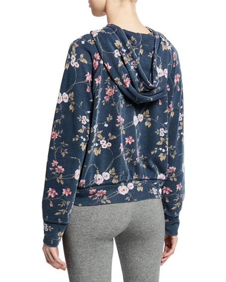Floral-Print Raglan-Sleeve Pullover Hoodie