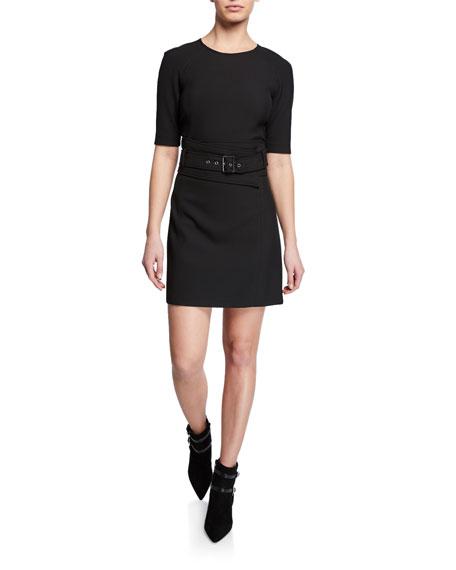 Nora Short 1/2-Sleeve Belted Dress