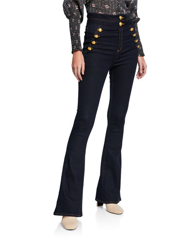 Dalida High-Rise Skinny Flare-Leg Jeans