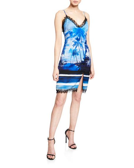 Helenas Palm Tree Mini Slip Dress