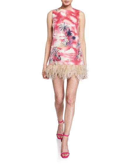 Le Superbe Night Hawaiian Sequin Dress w/ Feathers