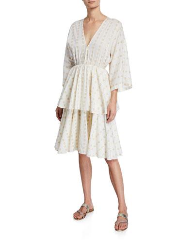 Bella Heart V-Neck 3/4-Sleeve Tiered Cotton Dress