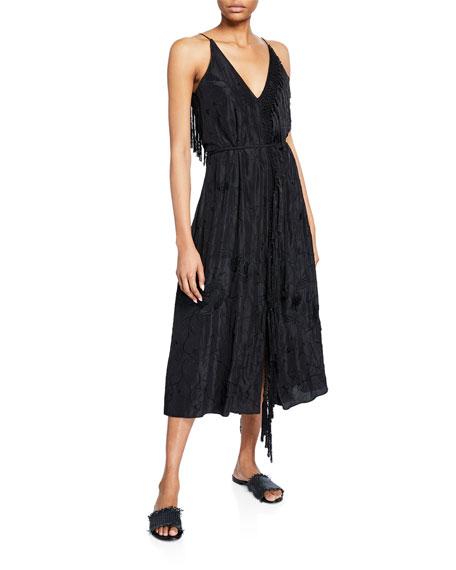 Forte Forte Dresses EMBROIDERED SILK HABUTAI SLEEVELESS FRINGE DRESS