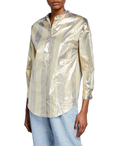 Forte Forte Tops METALLIC STRIPED BUTTON-FRONT TOP