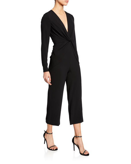 Image 1 of 1: V-Neck Long-Sleeve Twist-Front Cropped Jumpsuit