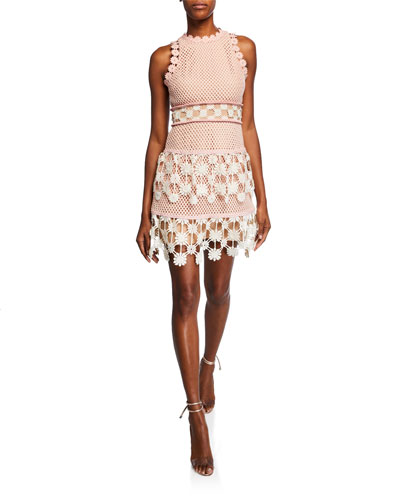 3D Floral Crochet Mini Dress