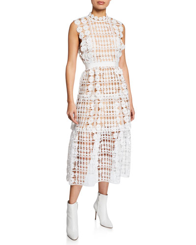 Lattice Tiered Floral Lace Midi Dress