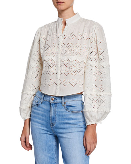 Loveshackfancy Lola Eyelet Cropped Button-Front Top