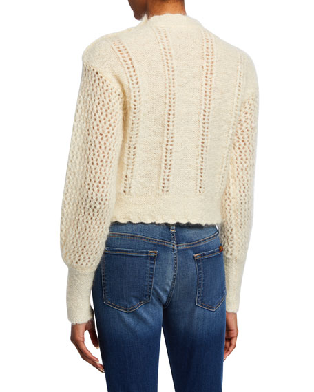 Persephone High-Neck Cropped Mohair Sweater