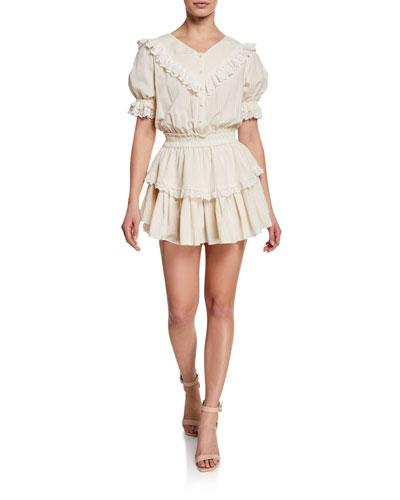 Nanette Ruffle Eyelet Short-Sleeve Mini Dress