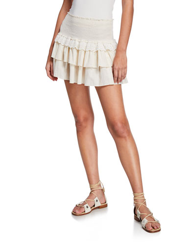 Dana Smocked Eyelet Tiered Short Skirt