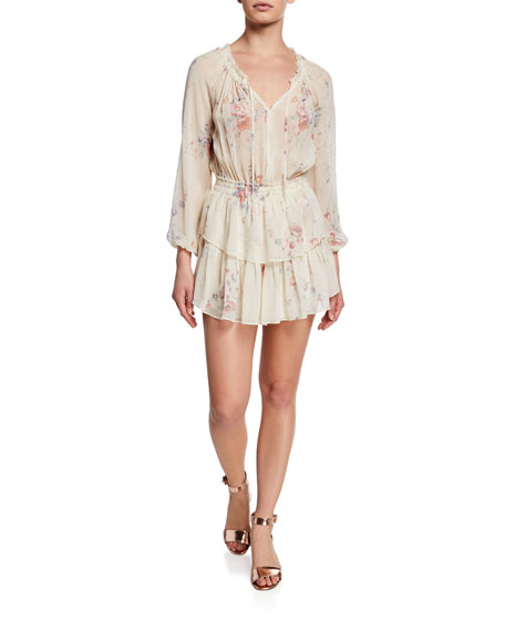 Loveshackfancy Dresses FLORAL SILK POPOVER DRESS