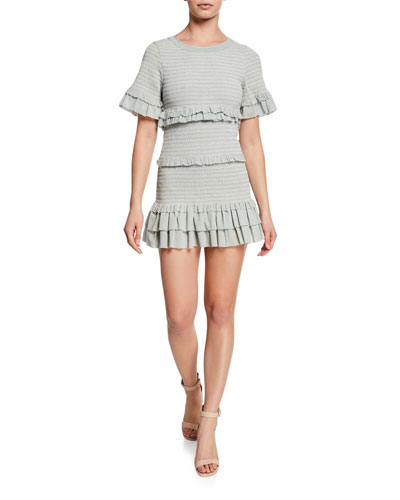 Aveline Smocked Dot-Print Tiered Ruffle Mini Dress