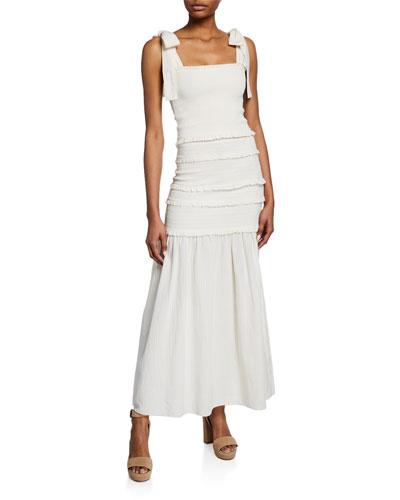 Robyn Tiered Shoulder-Tie Maxi Dress
