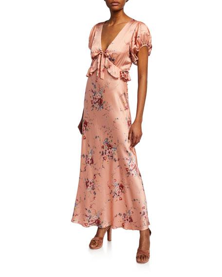 Loveshackfancy Dresses LILLIAN FLORAL-PRINT V-NECK SHORT-SLEEVE SILK DRESS