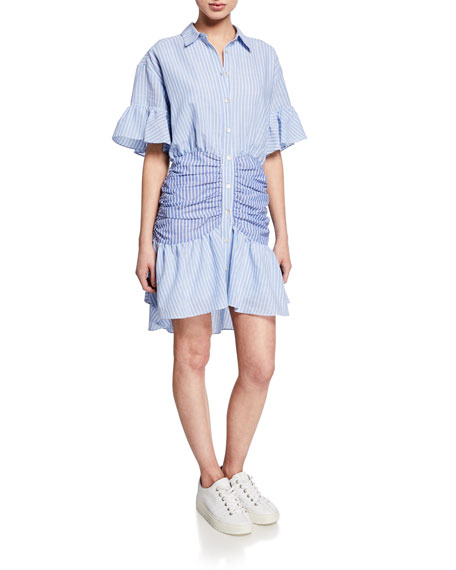cinq a sept Asher Striped Short-Sleeve Shirt Dress