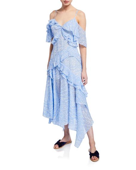 Tanya Taylor Adriana Cold-Shoulder Ruffle Dress