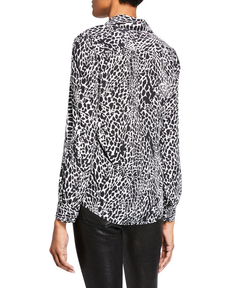Printed Long-Sleeve Button-Front Blouse