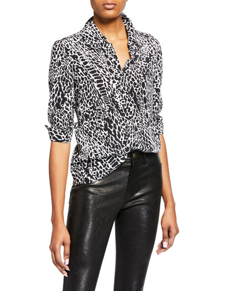 Image 1 of 1: Printed Long-Sleeve Button-Front Blouse