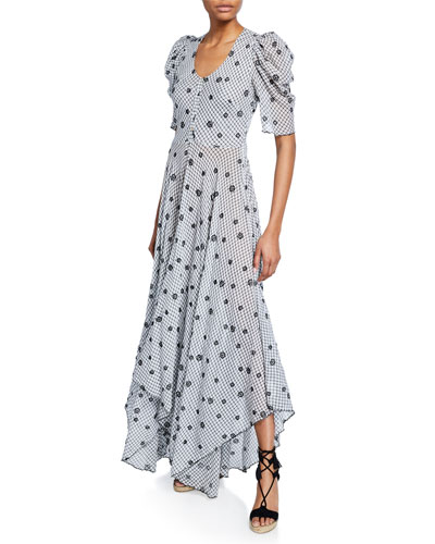 Coralie Embroidered Puff-Sleeve Button-Front Dress