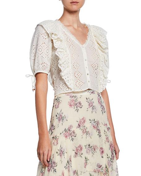 Kim Cotton Eyelet Short-Sleeve Crop Top w/ Ruffles