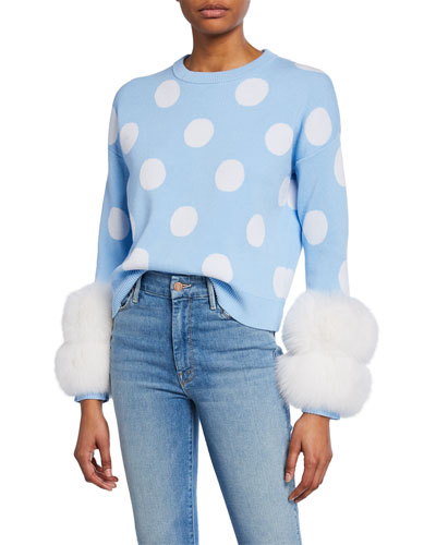 Polka Dot Crewneck Sweater with Fox Fur Cuffs