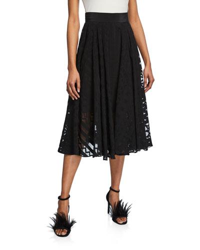Pleated Semisheer Circle Skirt