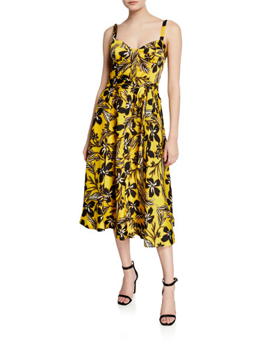 Bustier Floral-Print Midi Dress