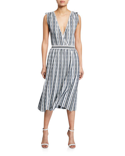 Textured Stripe Surplice Dress