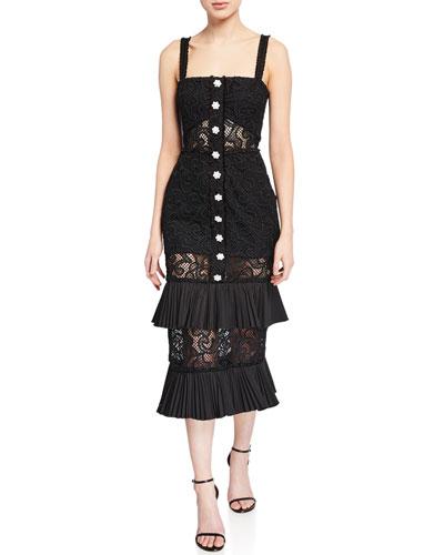 Lyssa Silk Tiered Ruffle Lace Midi Dress