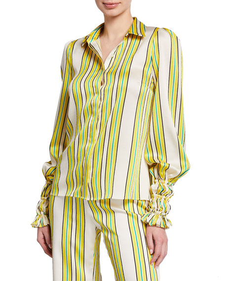 Alexis Tops CATINA STRIPED BUTTON-FRONT LONG-SLEEVE SATIN TOP