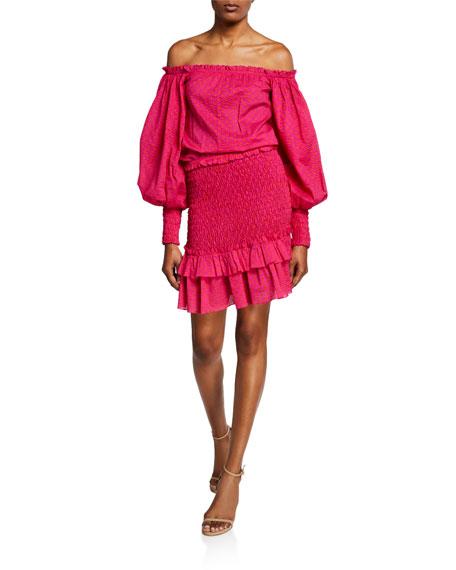 Alexis Dresses MARILENA SMOCKED OFF-SHOULDER BLOUSON-SLEEVE DRESS