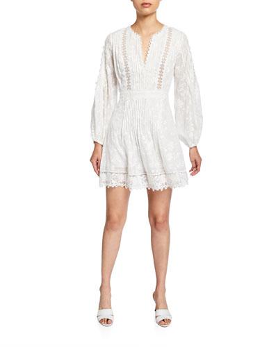 bc91a265497 Artemis Silk-Cotton Lace Short Dress Quick Look. Alexis