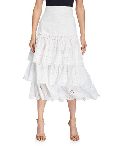 74decb58d37171 Promotion Faustine Tiered Ruffle Eyelet Midi Skirt