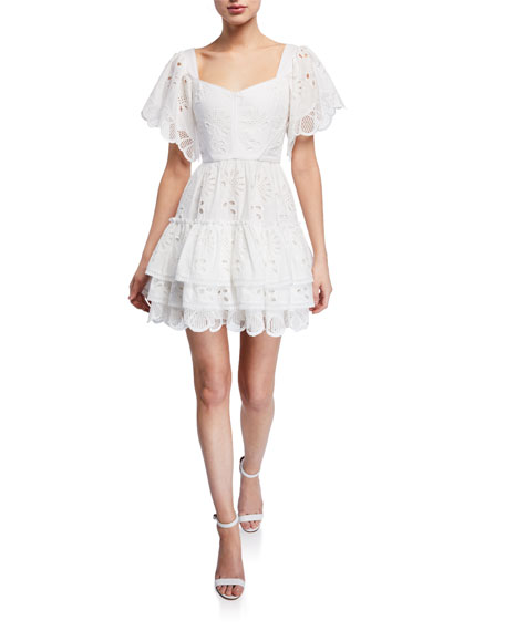 Afonsa Broderie Anglaise Tiered Short Dress