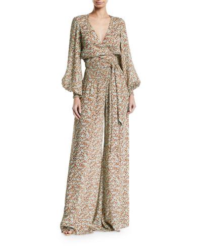 60457945c2b Esperanza Floral Blouson-Sleeve Jumpsuit Quick Look. Alexis
