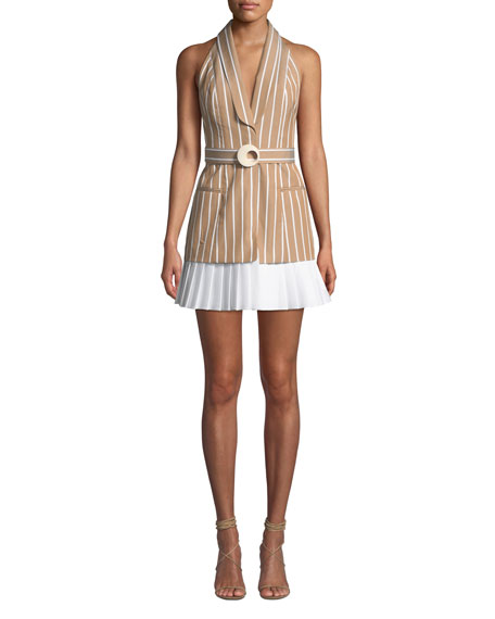 Alexis Dresses CARMONA STRIPED BELTED SHORT DRESS