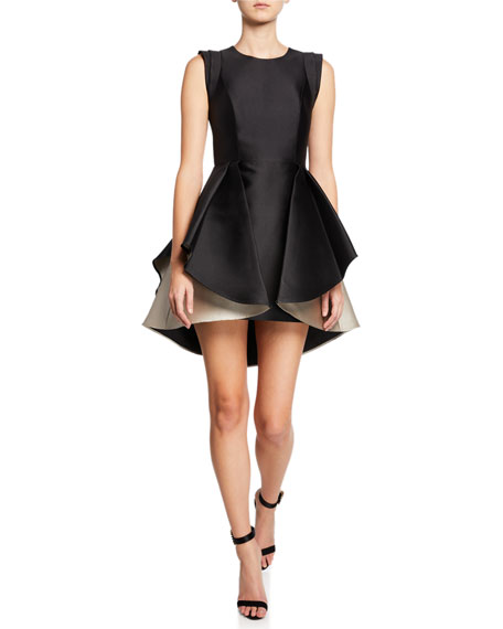 Image 1 of 1: Structured Cap-Sleeve Satin Twill Dress with Dramatic Skirt