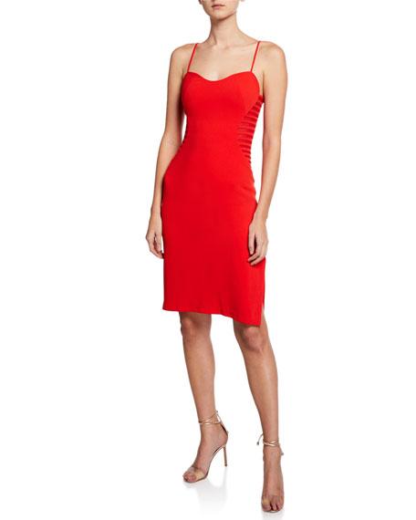 Halston Heritage Sleeveless Crepe Dress with Side Strips