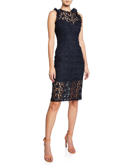 Halston Heritage Sleeveless Fitted Lace Illusion Dress with