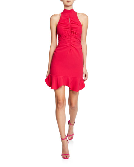 16d2d3a68e5 Halston Heritage Sleeveless Mock-Neck Cocktail Dress with Ruched