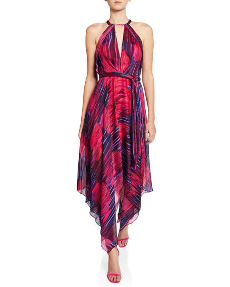 Halston Heritage Printed Halter-Neck Handkerchief Dress