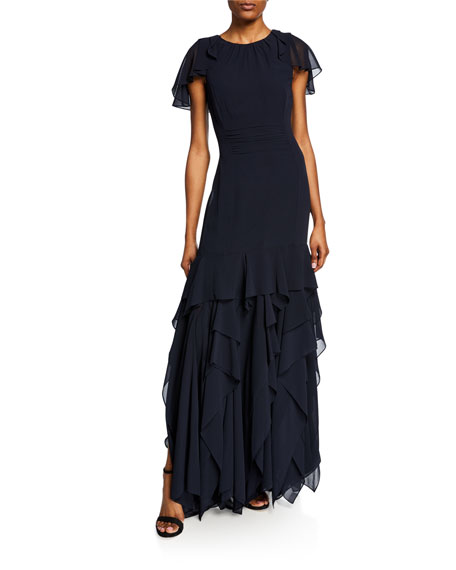 Flutter Cap-Sleeve Georgette Gown with Dramatic Flounce Skirt