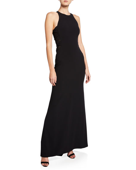 Halston Heritage Sleeveless High-Neck Crepe Gown with Side