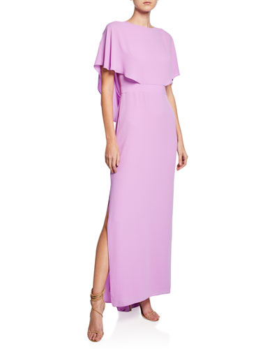 Cape-Sleeve Column Gown with Draped Back Detail