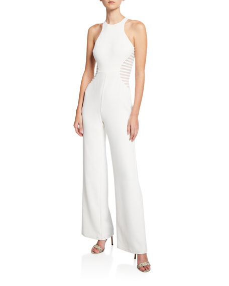 29443577f8f Halston Heritage Sleeveless Wide-Leg Crepe Jumpsuit with Stripe Applique  Detail