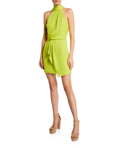 Turtleneck Sleeveless Mini Dress with Drape Front Detail