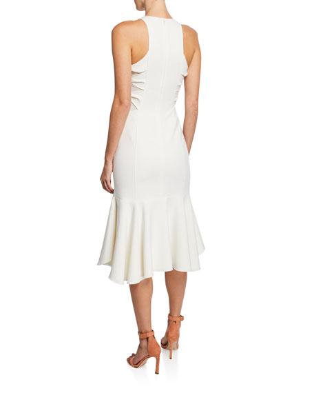 Sleeveless Flounce-Hem Dress with Twist Detail