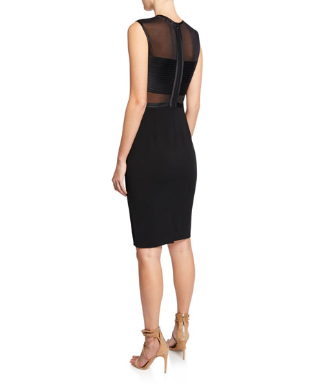 Sleeveless Crepe Dress with Mesh Top & Strip Detail